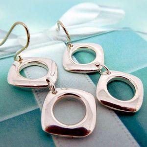 Tiffany Double Square Cushion Drop Dangle Earrings